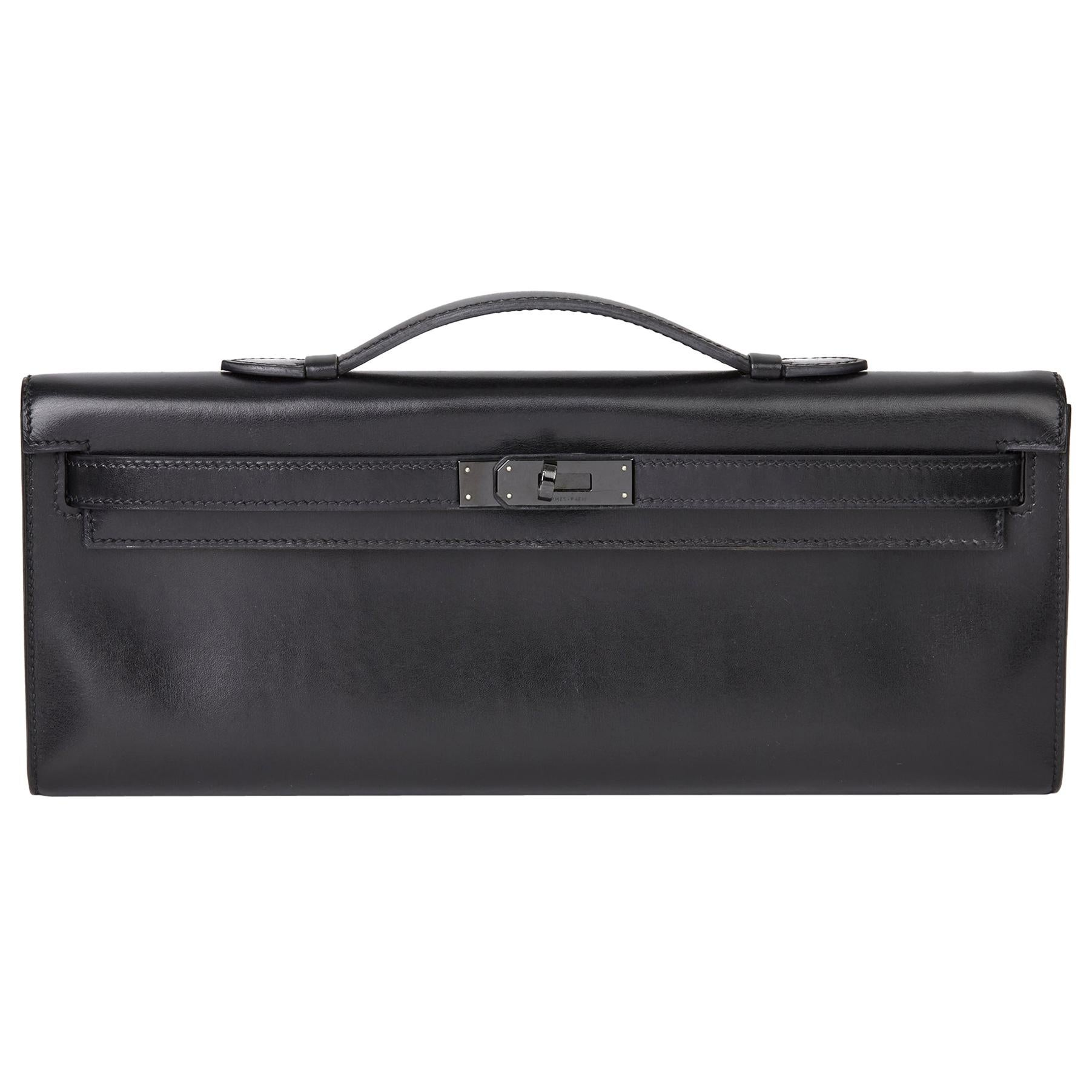 2010 Hermès Black Box Calf Leather SO Black Kelly Cut