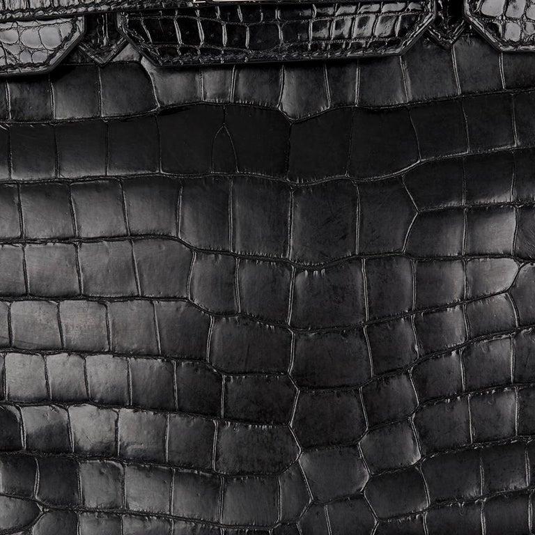 2010 Hèrmes Black Shiny Porosus Crocodile Leather Birkin 30cm 7