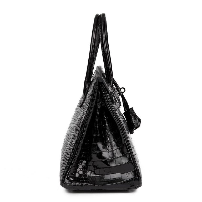 2010 Hèrmes Black Shiny Porosus Crocodile Leather Birkin 30cm 2