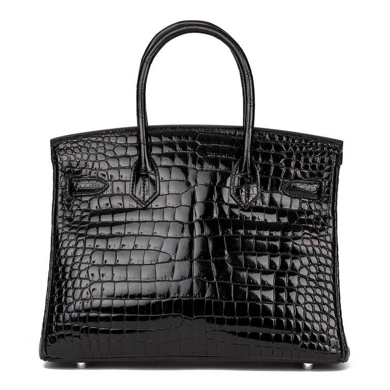 Women's 2010 Hèrmes Black Shiny Porosus Crocodile Leather Birkin 30cm