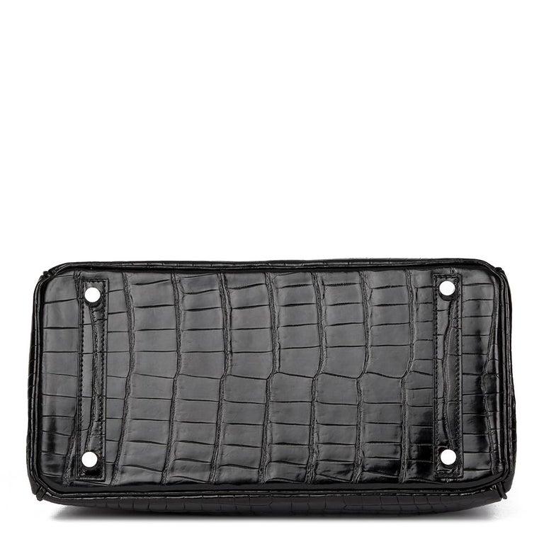 2010 Hèrmes Black Shiny Porosus Crocodile Leather Birkin 30cm 1