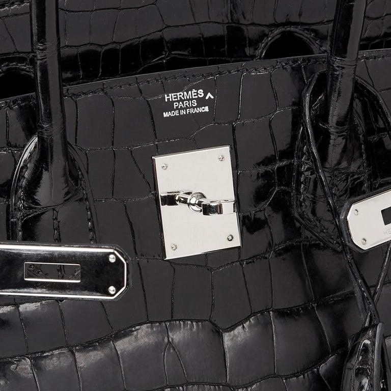 2010 Hèrmes Black Shiny Porosus Crocodile Leather Birkin 30cm 3
