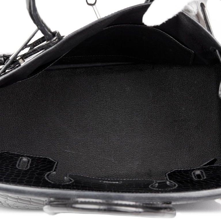 2010 Hèrmes Black Shiny Porosus Crocodile Leather Birkin 30cm 5