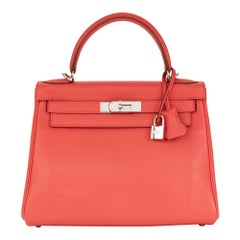 2010 Hermès Bougainvillier Clemence Leather Kelly 28cm Retourne
