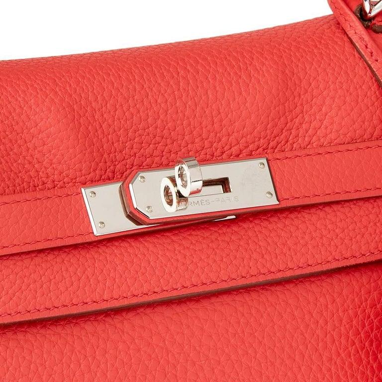 Women's 2010 Hermes Bougainvillier Togo Leather Kelly 35cm Retourne For Sale