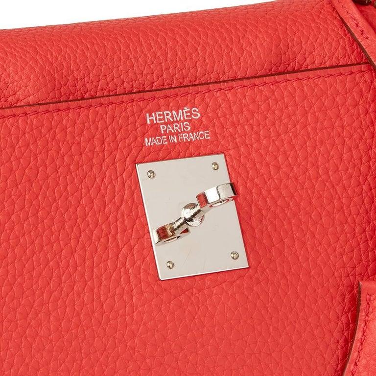 2010 Hermes Bougainvillier Togo Leather Kelly 35cm Retourne For Sale 1