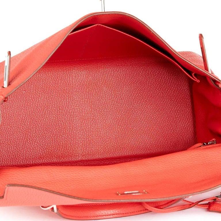 2010 Hermes Bougainvillier Togo Leather Kelly 35cm Retourne For Sale 2