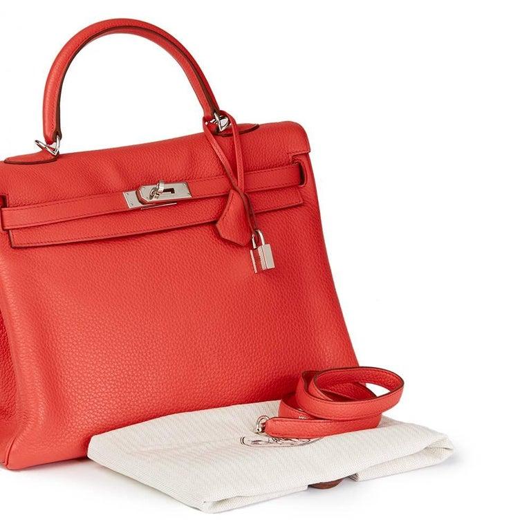 2010 Hermes Bougainvillier Togo Leather Kelly 35cm Retourne For Sale 4