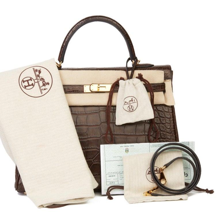 2010 Hermès Chocolate Brown Matte Mississippiensis Alligator Leather Kelly 35cm For Sale 7