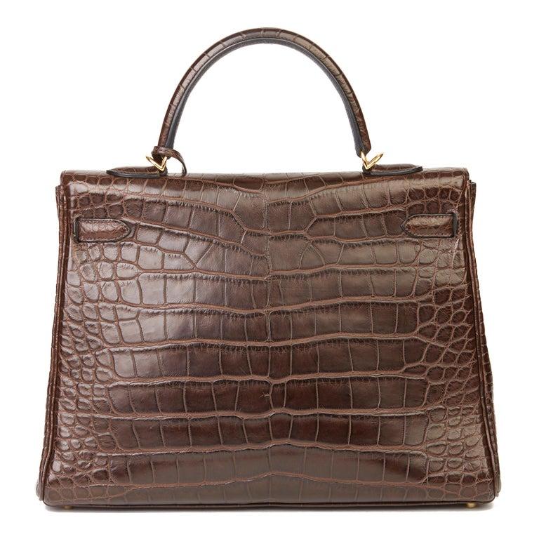 2010 Hermès Chocolate Brown Matte Mississippiensis Alligator Leather Kelly 35cm For Sale 1