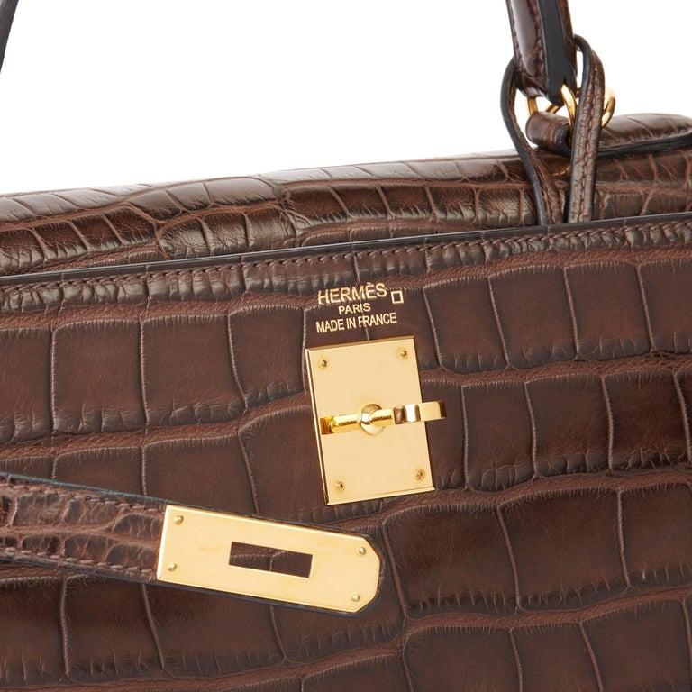 2010 Hermès Chocolate Brown Matte Mississippiensis Alligator Leather Kelly 35cm For Sale 4