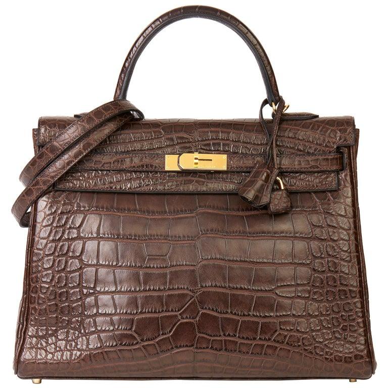 2010 Hermès Chocolate Brown Matte Mississippiensis Alligator Leather Kelly 35cm For Sale