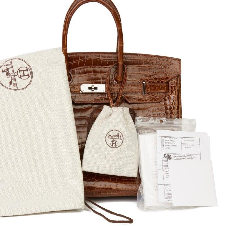 2010 Hermès Miel Shiny Porosus Crocodile Leather Birkin 35cm For Sale 7