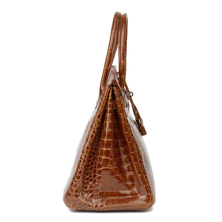 2010 Hermès Miel Shiny Porosus Crocodile Leather Birkin 35cm In Excellent Condition For Sale In Bishop's Stortford, Hertfordshire