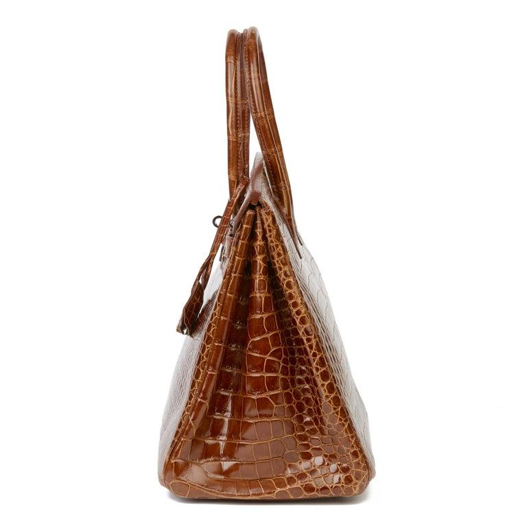 Women's 2010 Hermès Miel Shiny Porosus Crocodile Leather Birkin 35cm For Sale