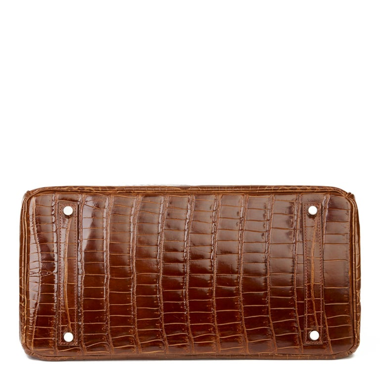 2010 Hermès Miel Shiny Porosus Crocodile Leather Birkin 35cm For Sale 2