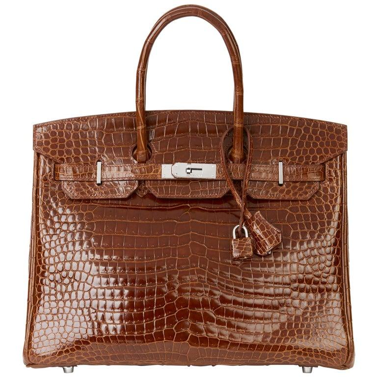 2010 Hermès Miel Shiny Porosus Crocodile Leather Birkin 35cm For Sale