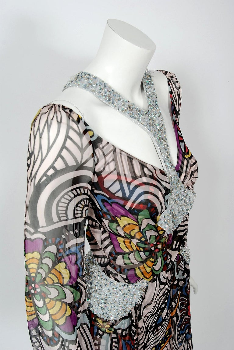 Gray 2010 Missoni Psychedelic Floral Silk Chiffon Beaded Cut-Out Mini Dress w/ Tags  For Sale