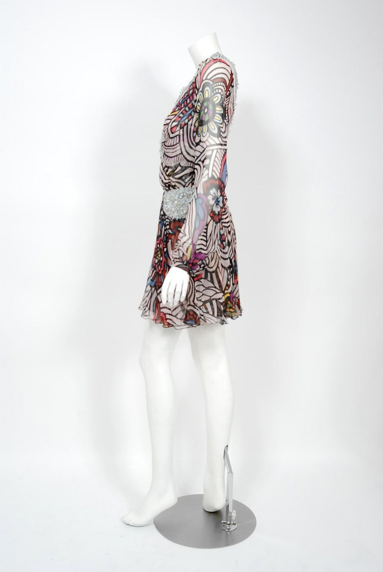 Women's 2010 Missoni Psychedelic Floral Silk Chiffon Beaded Cut-Out Mini Dress w/ Tags  For Sale