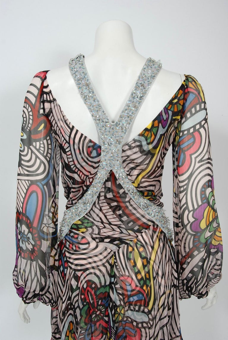 2010 Missoni Psychedelic Floral Silk Chiffon Beaded Cut-Out Mini Dress w/ Tags  For Sale 2