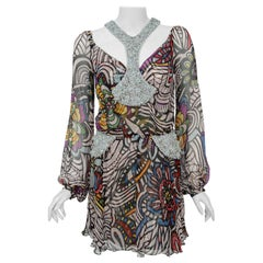 2010 Missoni Psychedelic Floral Silk Chiffon Beaded Cut-Out Mini Dress w/ Tags