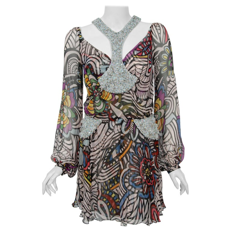 2010 Missoni Psychedelic Floral Silk Chiffon Beaded Cut-Out Mini Dress w/ Tags  For Sale