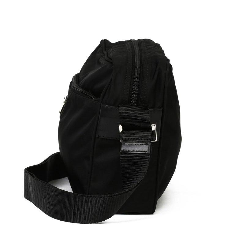 2010 Prada Black Nylon & Calfskin Leather Camera Bag For Sale 7