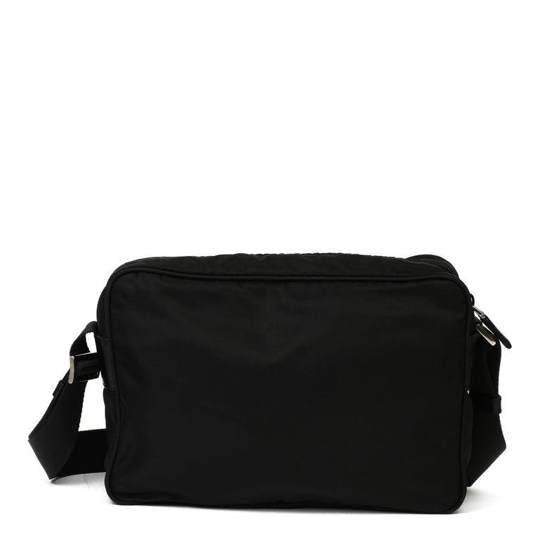 2010 Prada Black Nylon & Calfskin Leather Camera Bag For Sale 8