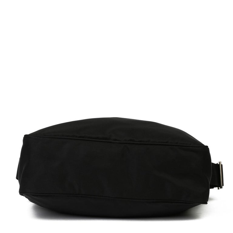 2010 Prada Black Nylon & Calfskin Leather Camera Bag For Sale 9