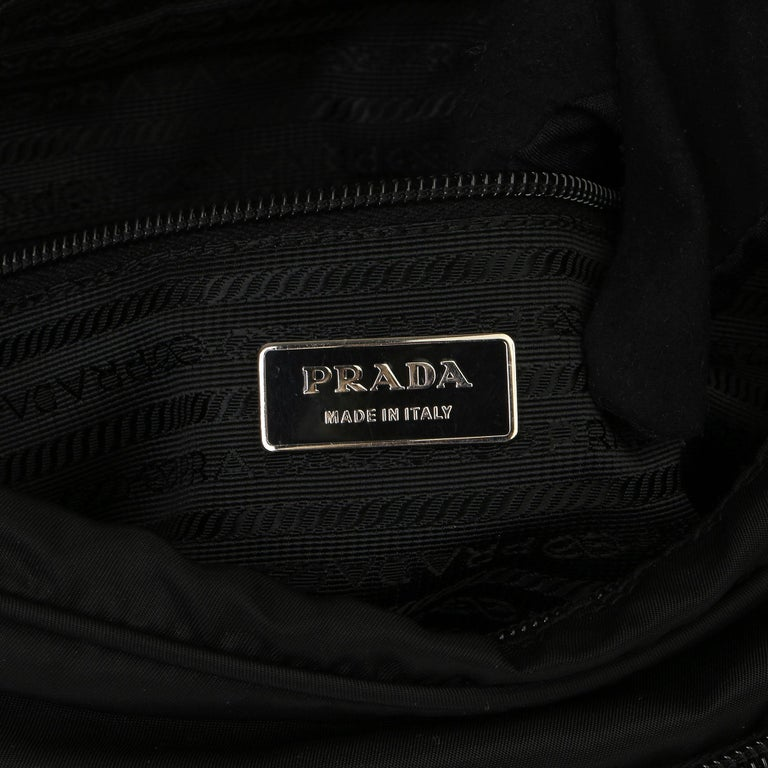 Women's or Men's 2010 Prada Black Nylon & Calfskin Leather Camera Bag For Sale