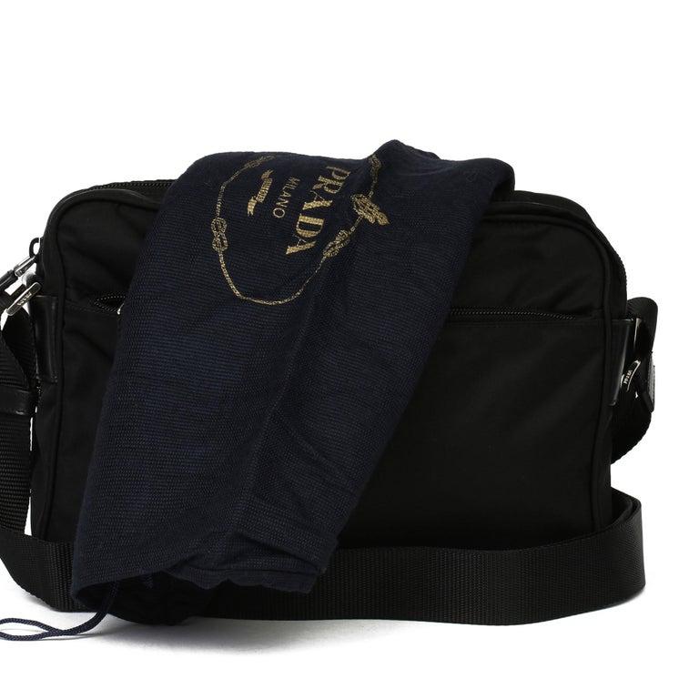 2010 Prada Black Nylon & Calfskin Leather Camera Bag For Sale 3