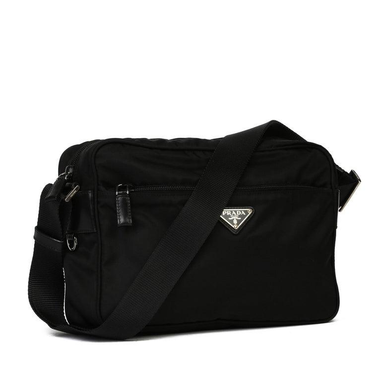 2010 Prada Black Nylon & Calfskin Leather Camera Bag For Sale 5