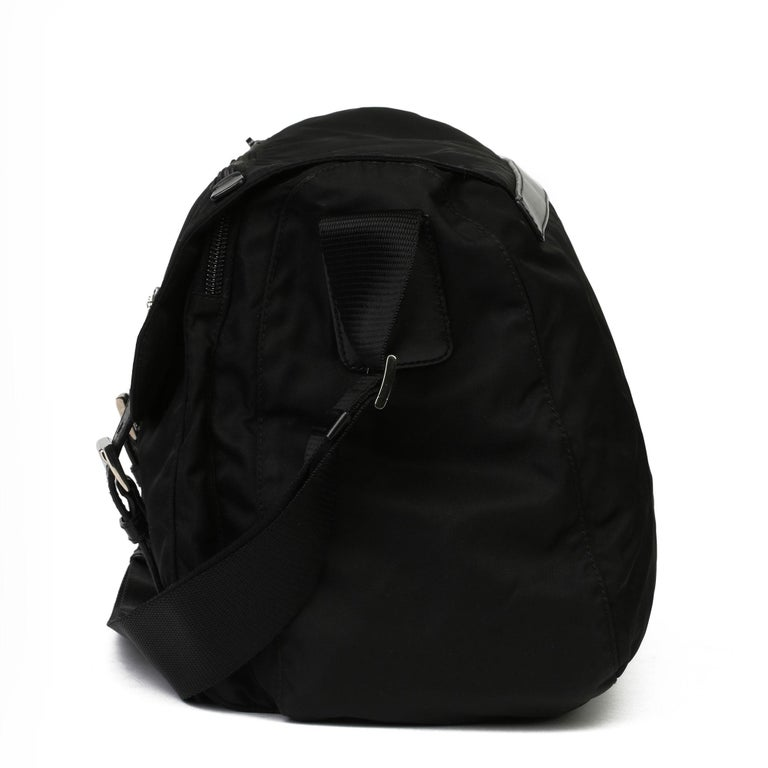 Women's 2010 Prada Black Nylon & Calfskin Leather Medium Shoulder Bag For Sale