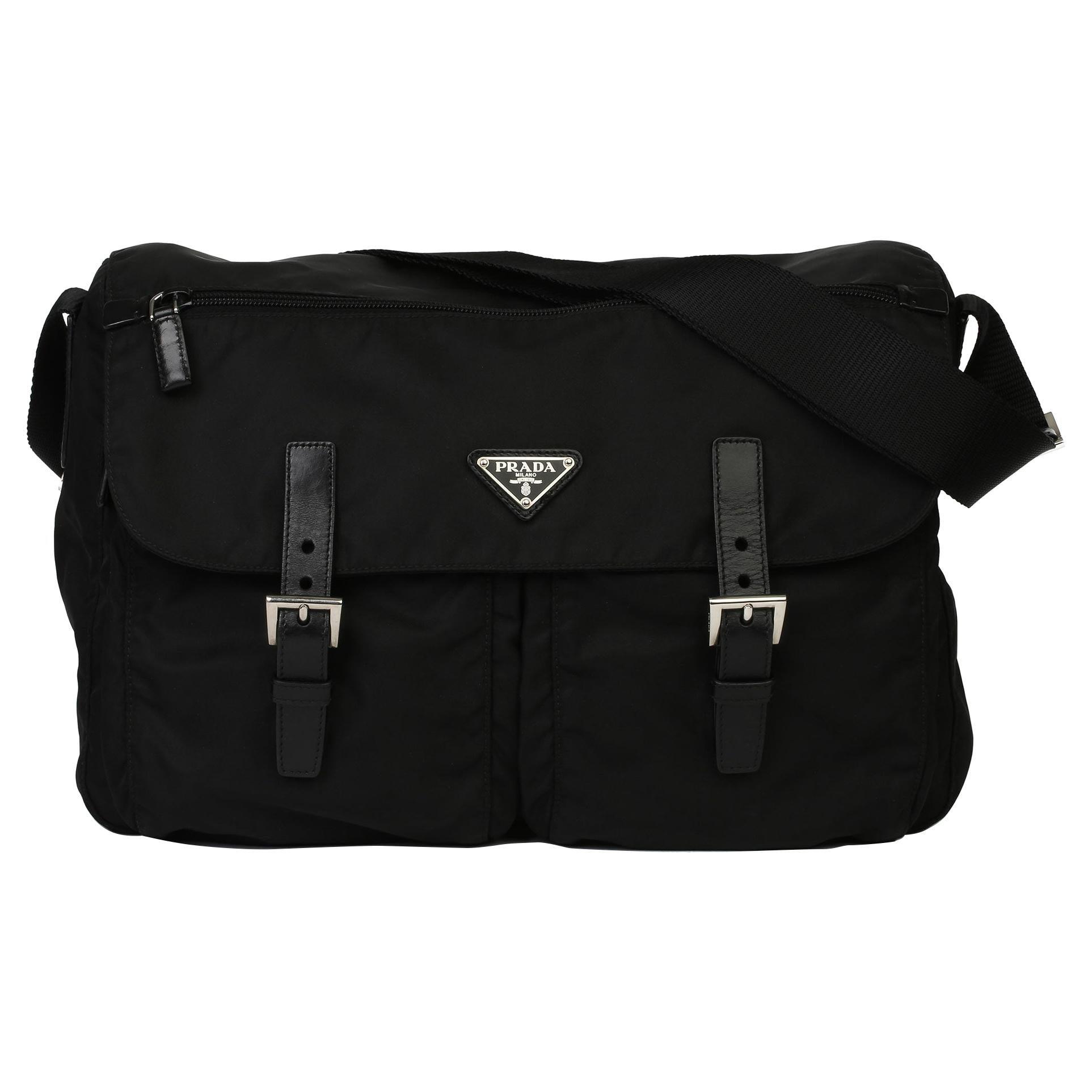 2010 Prada Black Nylon & Calfskin Leather Medium Shoulder Bag