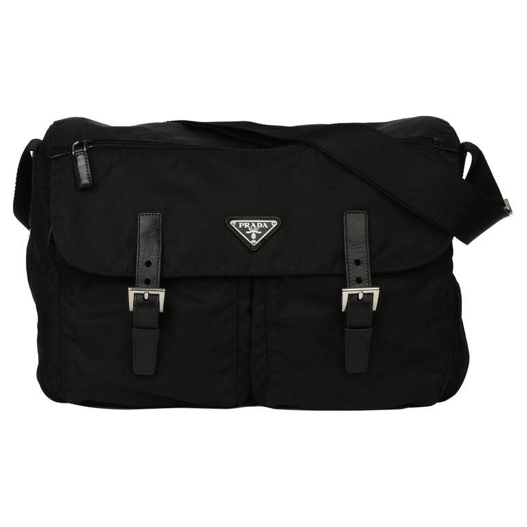 2010 Prada Black Nylon & Calfskin Leather Medium Shoulder Bag For Sale