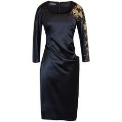 2010 Rare Vintage ALEXANDER McQUEEN Embellished Black Silk Dress