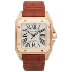 2010's Cartier Santos 100 Rose Gold 2879 Wristwatch
