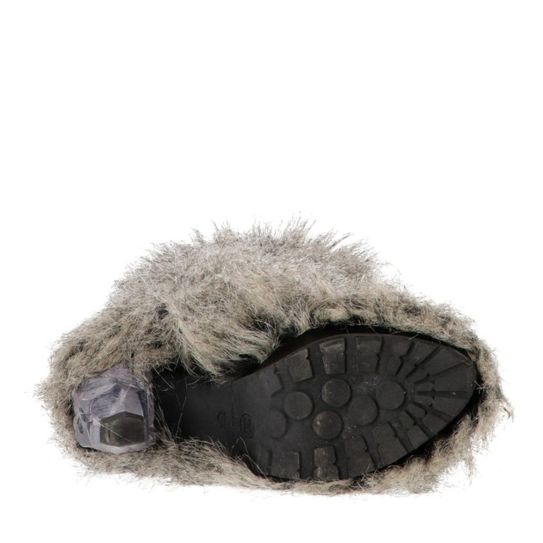 2010s Chanel Faux Fur Boots For Sale 6