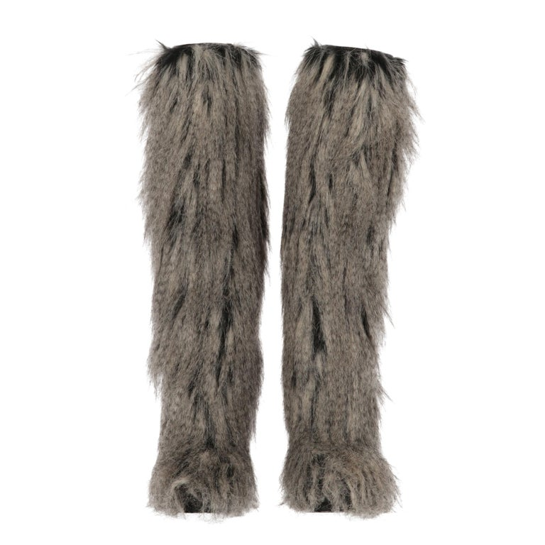 Gray 2010s Chanel Faux Fur Boots For Sale