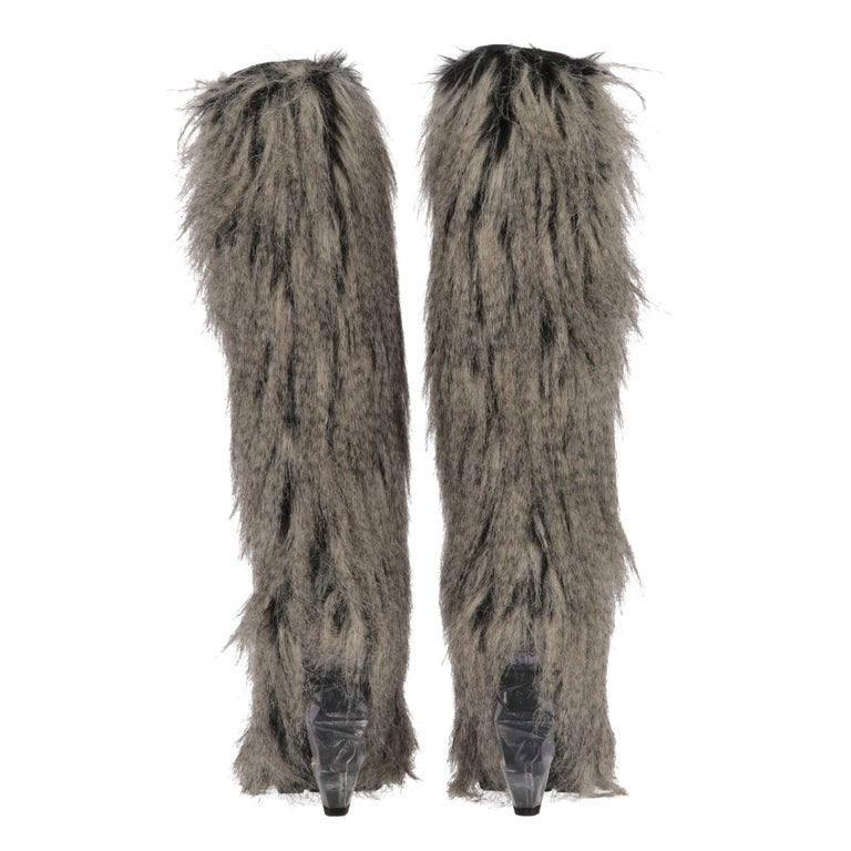 Women's 2010s Chanel Faux Fur Boots For Sale