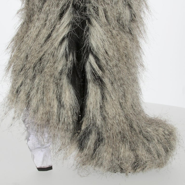 2010s Chanel Faux Fur Boots For Sale 3