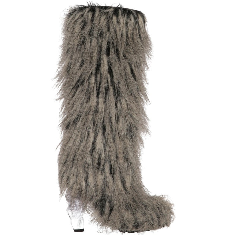 2010s Chanel Faux Fur Boots For Sale