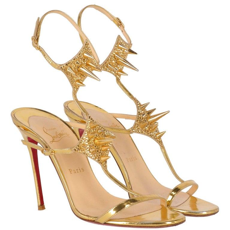 big sale 9fa3e 302f3 2010s Christian Louboutin Gold Sandals