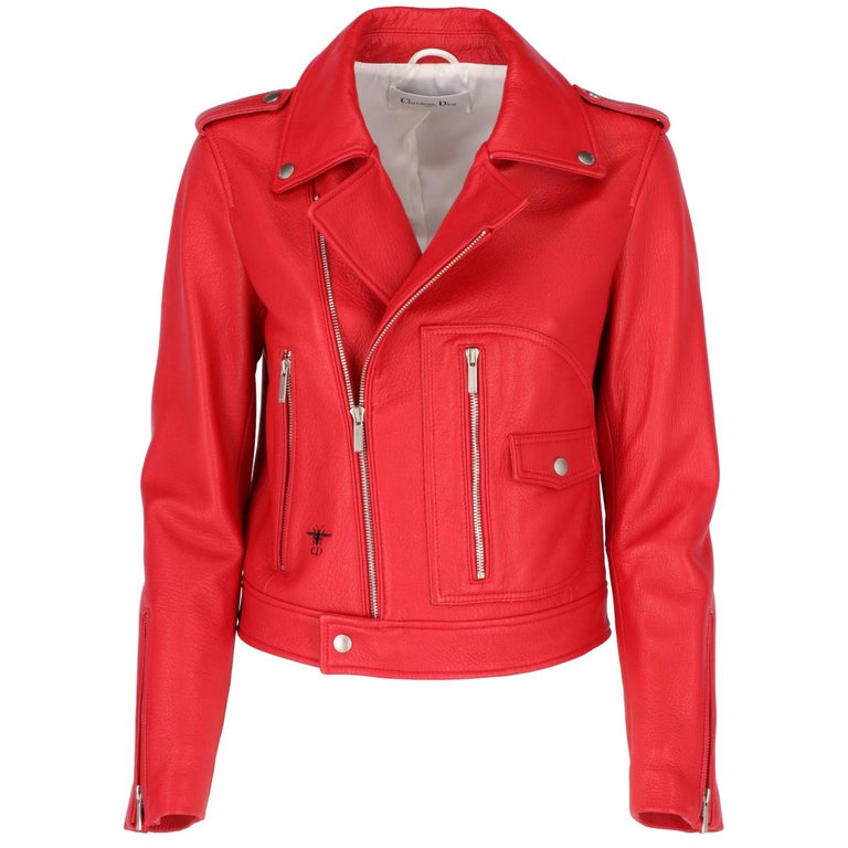 Christian Dior red leather biker jacket, 100% sheep leather, featuring press buttons with
