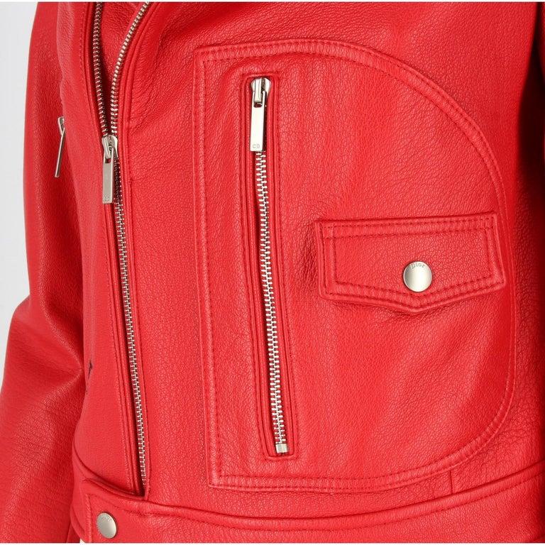 2010s Dior Red Leather Biker Jacket  For Sale 2