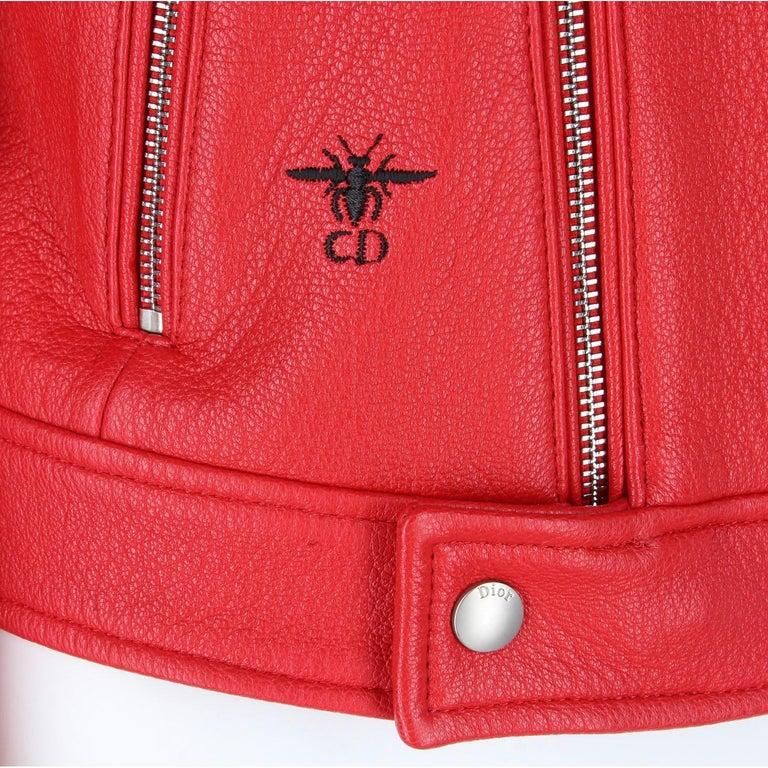 2010s Dior Red Leather Biker Jacket  For Sale 4