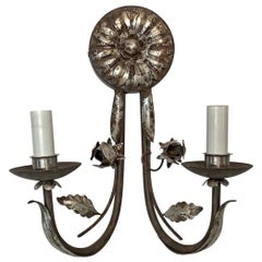 2010s Florentine Wrought Iron 2-Arm Wall Sconce Done in a Silver Gilt Finish
