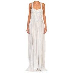 2010S GABRIELA HEARST Blue & White Silk SS 2017 Runway Sample Backless Gown