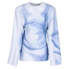 2010s Jil Sander Light Blue Shades Print Blouse