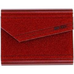 2010s Jimmy Choo Red Glitter Plastic Crossbody Purse